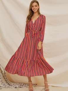 Colorful Striped Belted Long Sleeve Ruffle Hem Dress