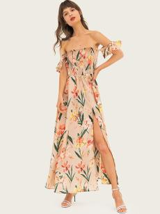 Off Shoulder Bandeau Floral Print Slit Hem Bohemain Dress
