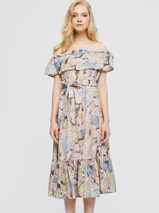 Bandeau Neck Off Shoulder Floral Print Belted Falbala Dress