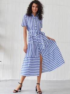 Single Breasted Belted Striped Slit Hem Dress