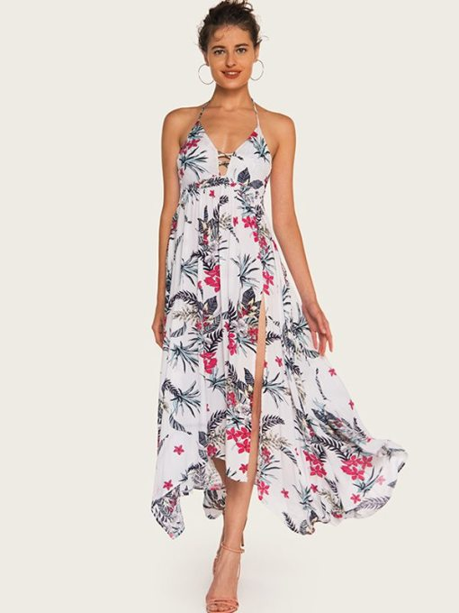 Halter Neck Floral Print Slit Hem Backless Dress