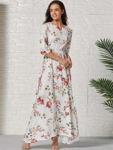 Bohemian White Floral Print Shirred Maxi Dress