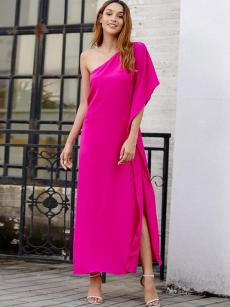 One Shoulder Solid Split Sleeve High Slit Dress
