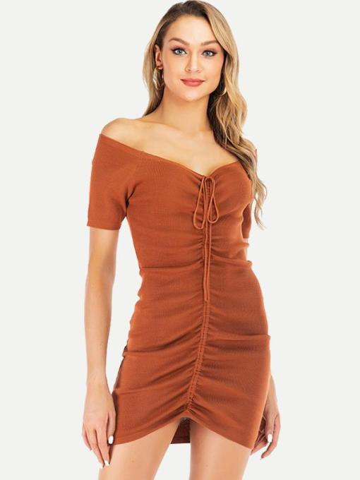 Off Shoulder Lace-up Pleated Knitted Bodycon Dress