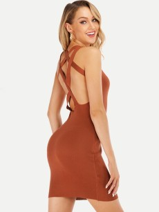 Rib-knit Crisscross Backless Bodycon Dress