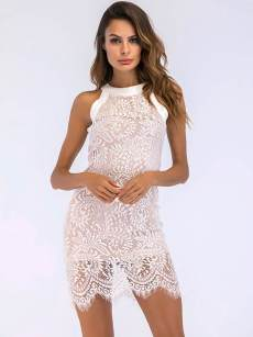 Embroidered Flower Halter Neck Lace Bodycon Dress