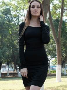 Black Criss Cross Backless Long Sleeve Bodycon Dress