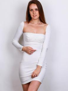 White Off Shoulder Long Sleeve Bodycon Tube Knit Dress