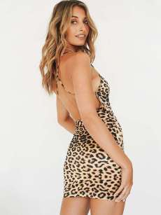 Crisscross Backless Leopard Print Bodycon Cami Dress