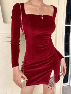 Square Neck Split Hem Bodycon Velvet Dress