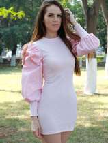 Pink Bubble Long Sleeve Bodycon Kintted Dress