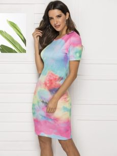 Sexy Tie-Dye Printed Bodycon Dress
