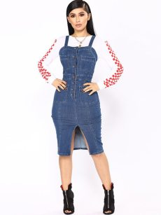 Single-breasted Backless Split Hem Slip Denim Dress