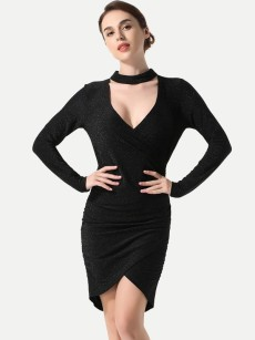 Black Ruched Irregular Hem Bodycon Wrap Dress
