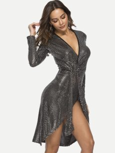 Black Sequin Irregular Hem Belted Bodycon Wrap Dress