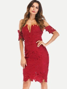 Off Shoulder Hollow Out Lace Tube Dress