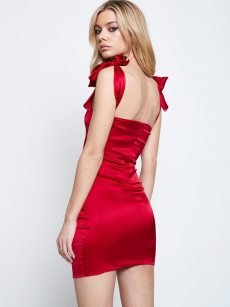 Red Bow Tie Backless Slip Satin Party Dress