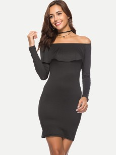 Black Long Sleeve Ruffle Trim Bodycon Tube Dress