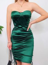 Green Self Tie Open Back Ruched Tube Bodycon Dress