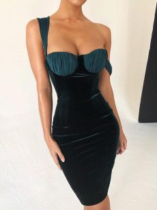 Oblique Shoulder Green Ruched Bodycon Velvet Slip Dress