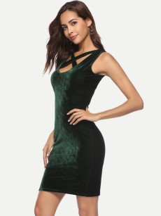 Crisscross Neck Sleeveless Bodycon Velvet Dress