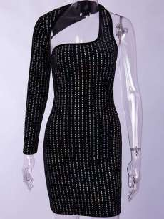 Rhinestones Decor One Shoulder Backless Glitter Bodycon Dress
