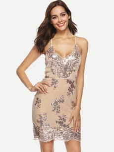 Plunge Neck Sequin Backless Bodycon Prom Dress