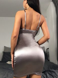 Deep V Neck Open Back Satin Slip Cami Dress