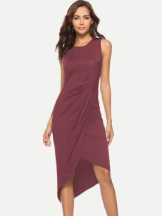 Solid Ruched Irregular Hem Tank Fitted Dress