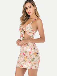 Cut-out Front Open Back Sequin Floral Bodycon Dress