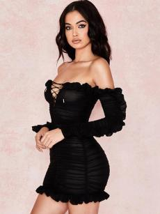 Off Shoulder Lace-up Ruffle Hem Bodycon Backless Dress