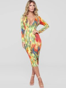 Plunge Neck Colorful Print Long Sleeve Bodycon Dress