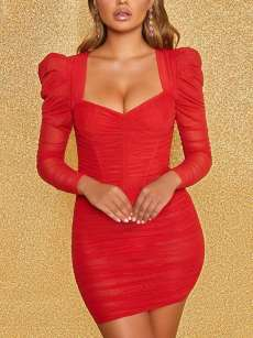 Square Neck Long Sleeve Bodycon Mesh Dress