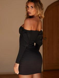 Bandeau Neck Off Shoulder Buttons Front Backless Bodycon Dress