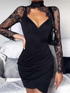Black Lace Long Sleeve Ruched Bodycon Wrap Dress