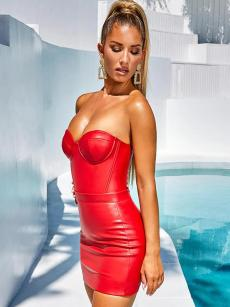 Bandeau Neck Backless Bodycon Tube Dress