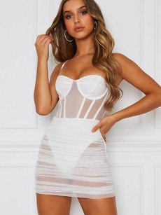 See Through Mesh Hollow Out Slip Bodycon Dress