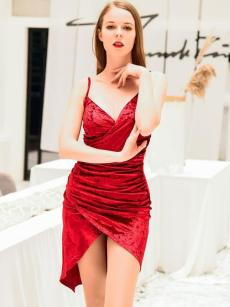 Red Ruched Irregular Hem Backless Slip Velvet Wrap Dress