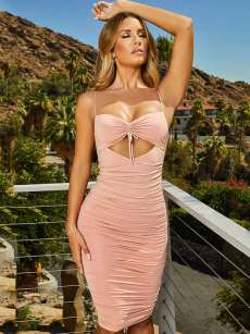 Lace-up Front Hollow Out Open Back Bodycon Cami Dress