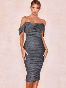 Off Shoulder Black Ruched Backless Shiner Bodycon Dress