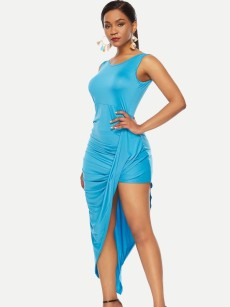 Solid Ruched Irregular Hem Long Sleeveless Bodycon Dress