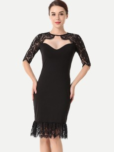 Black Lace Trim Bodycon Prom Dress