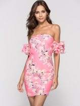 Off Shoulder Floral Print Ruffle Sleeve Bodycon Tube Dress