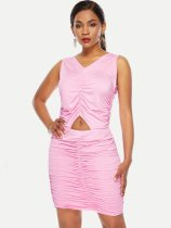 Cut Out Hollow Ruched Hem Sleeveless Bodycon Dress