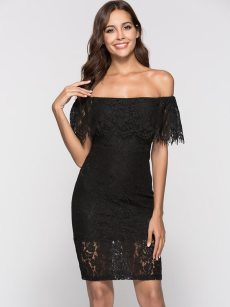 Boat Neck Backless Lace Bodycon Dress