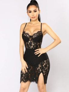 Black Hollow Out Split Hem Backless Lace Bodycon Dress