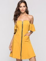 Yellow Zipper Front Open Back Tube Dress With Side Pockets