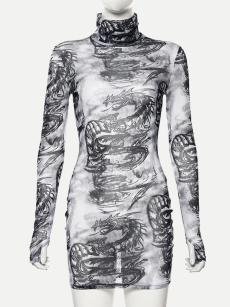 Mock Neck Dragon Print Long Sleeve Bodycon Dress