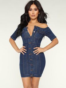 Off Shoulder Buttons Front Denim Blue Bodycon Dress