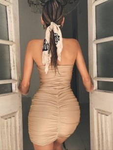 Ruched Backless Mini Tube Bodycon Dress